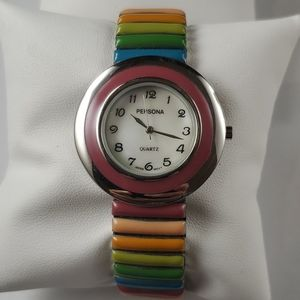 PERSONA Silver Toned Watch w Colorful Band